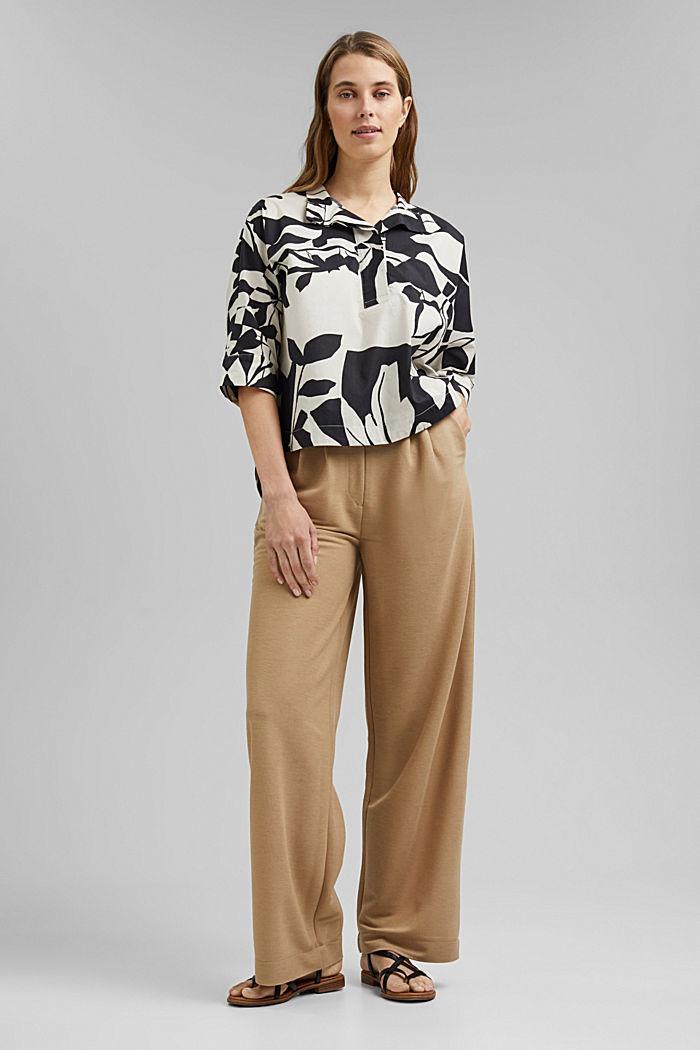 Cotton poplin blouse with botanical print, BLACK, detail image number 1