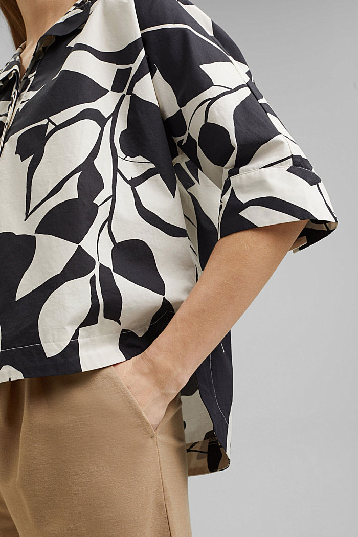 Cotton poplin blouse with botanical print, BLACK, detail image number 2