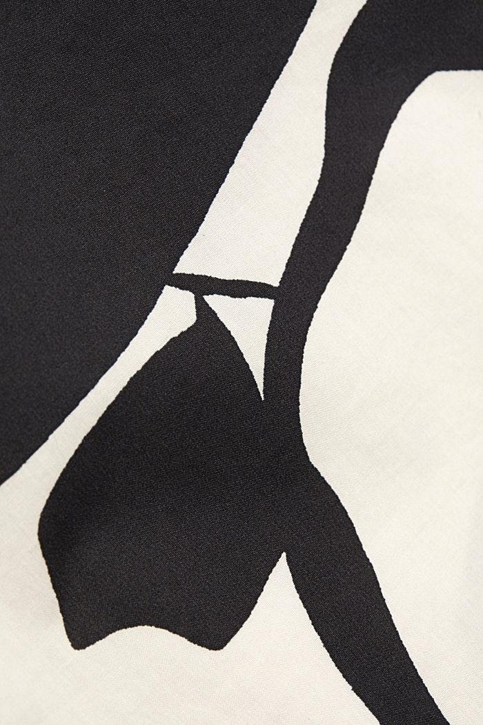 Cotton poplin blouse with botanical print, BLACK, detail image number 4