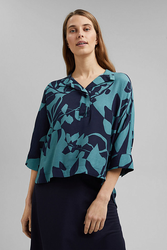 Blouse with botanical print and LENZING™ ECOVERO™, NAVY, detail image number 0