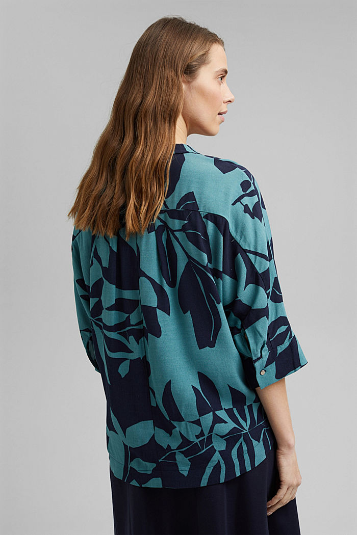 Blouse with botanical print and LENZING™ ECOVERO™, NAVY, detail image number 3