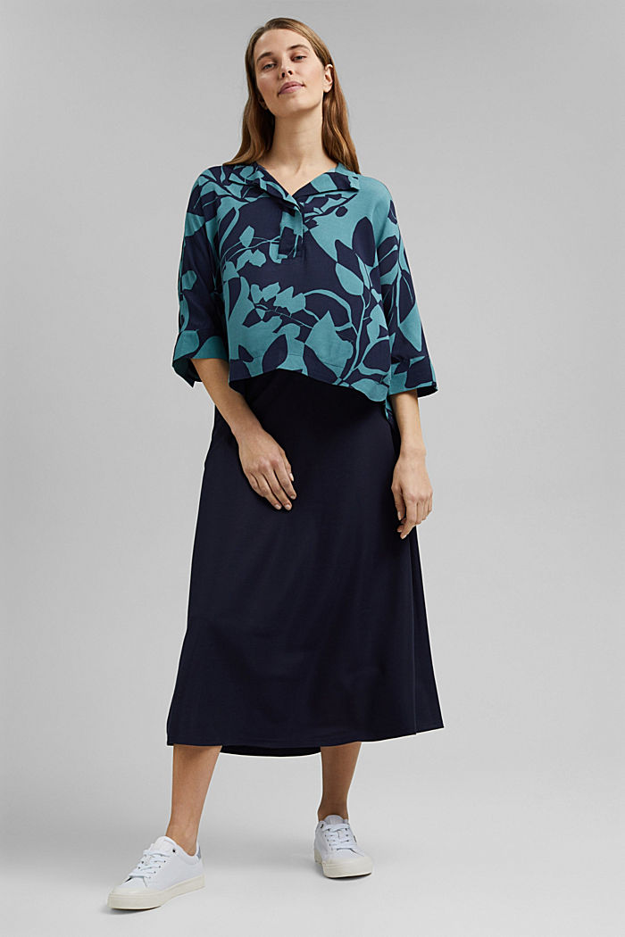 Blouse with botanical print and LENZING™ ECOVERO™, NAVY, detail image number 1