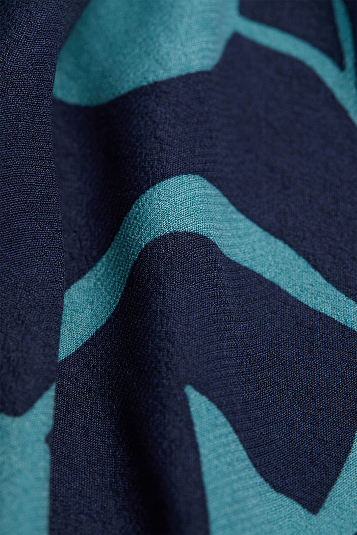 Blouse with botanical print and LENZING™ ECOVERO™, NAVY, detail image number 4