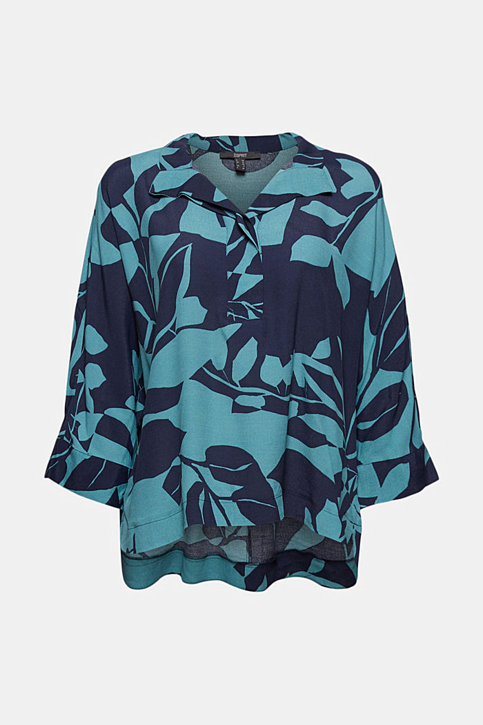 Blouse with botanical print and LENZING™ ECOVERO™, NAVY, detail image number 5