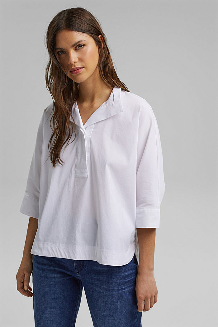 Pull-on blouse in a kimono style, WHITE, detail image number 0