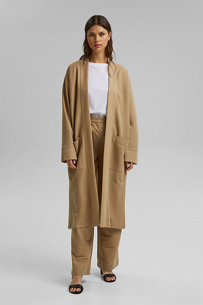 PIQUE Mix + Match long cardigan, BEIGE, detail image number 1