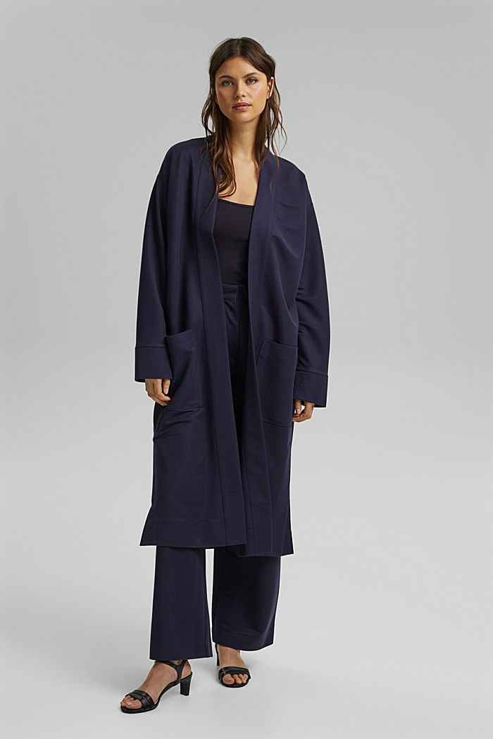 PIQUE Mix + Match long cardigan, NAVY, detail image number 1