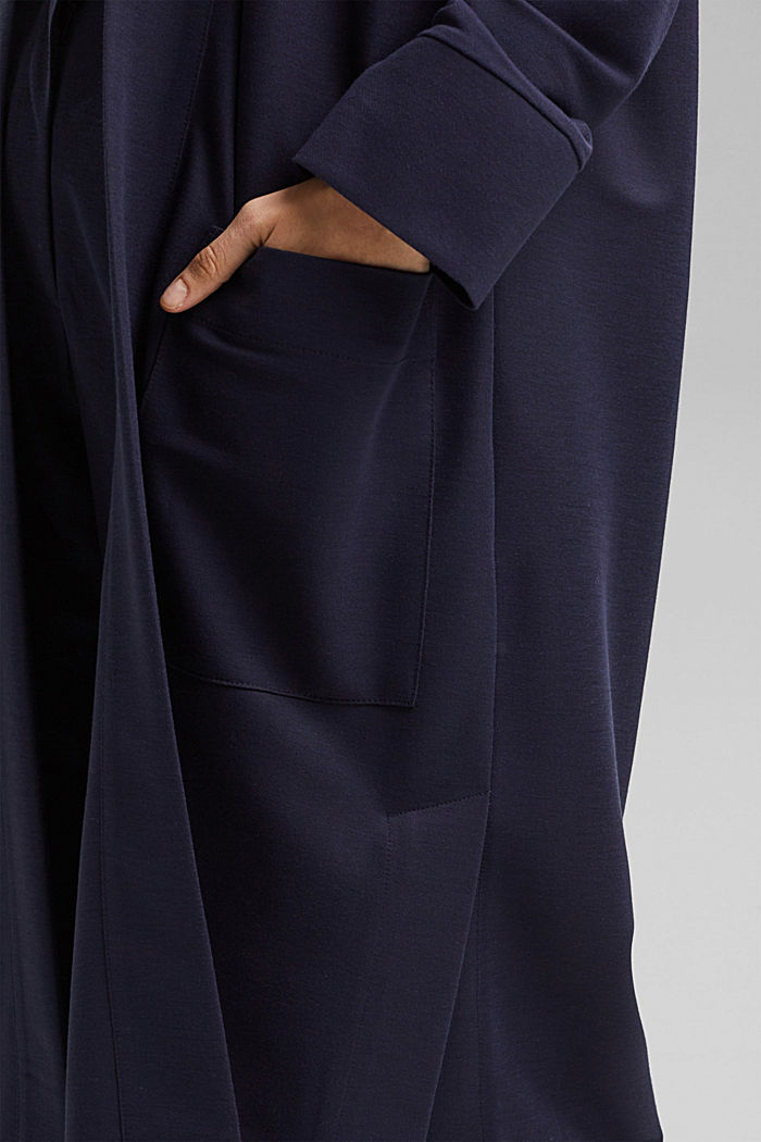 PIQUE Mix + Match long cardigan, NAVY, detail image number 2