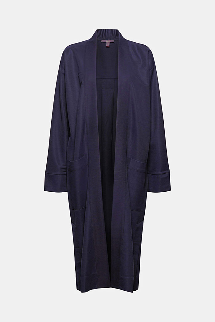 PIQUE Mix + Match long cardigan, NAVY, overview