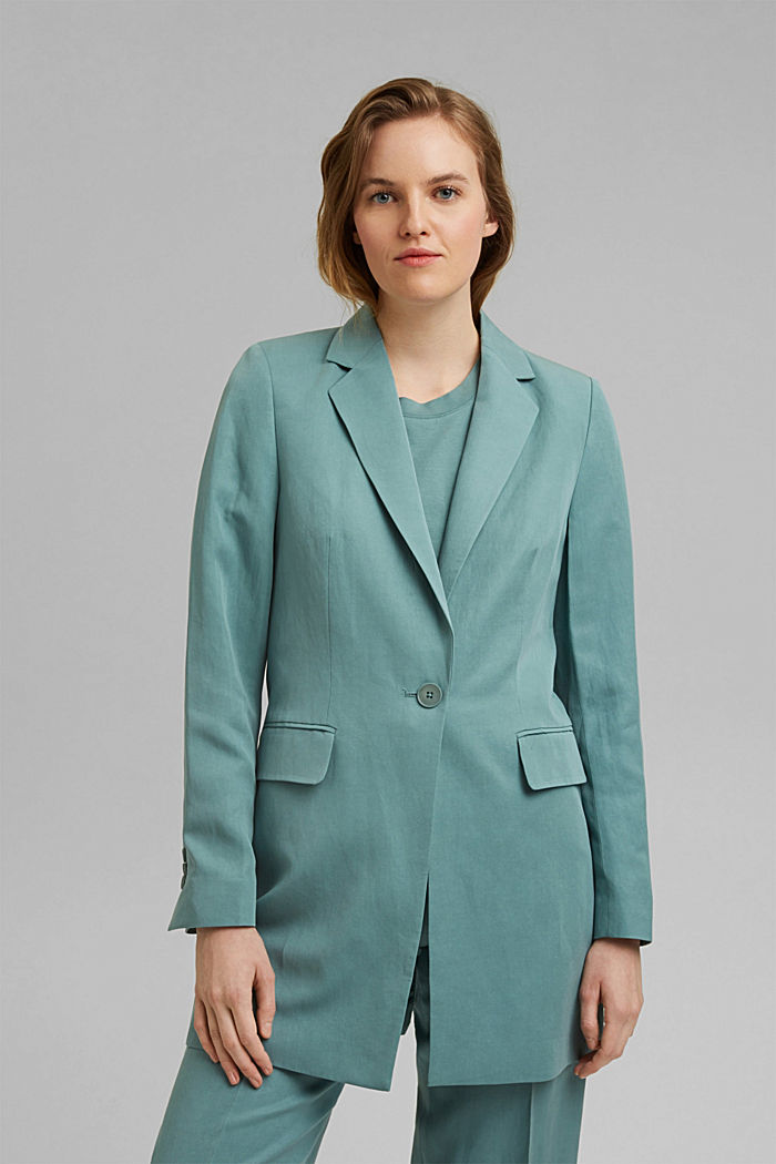 SOFT mix + match blazer met linnen, DARK TURQUOISE, detail image number 0
