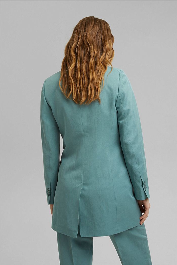 SOFT mix + match blazer met linnen, DARK TURQUOISE, detail image number 3