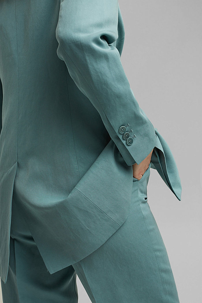SOFT mix + match blazer met linnen, DARK TURQUOISE, detail image number 2