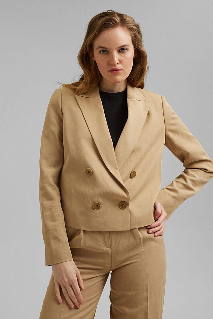 SOFT Mix + Match short linen blend blazer, BEIGE, detail image number 1