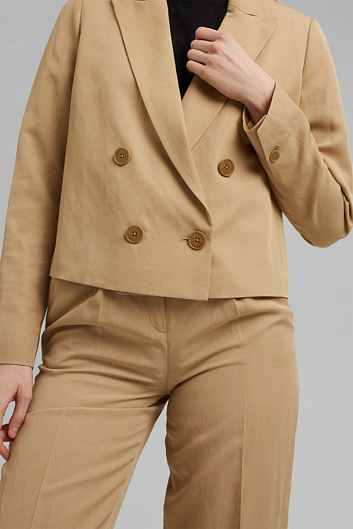 SOFT - Blazer corto con lino Mix + Match, BEIGE, detail image number 2