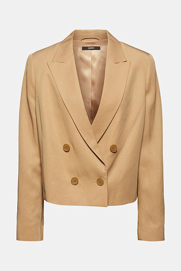 SOFT - Blazer corto con lino Mix + Match, BEIGE, detail image number 7