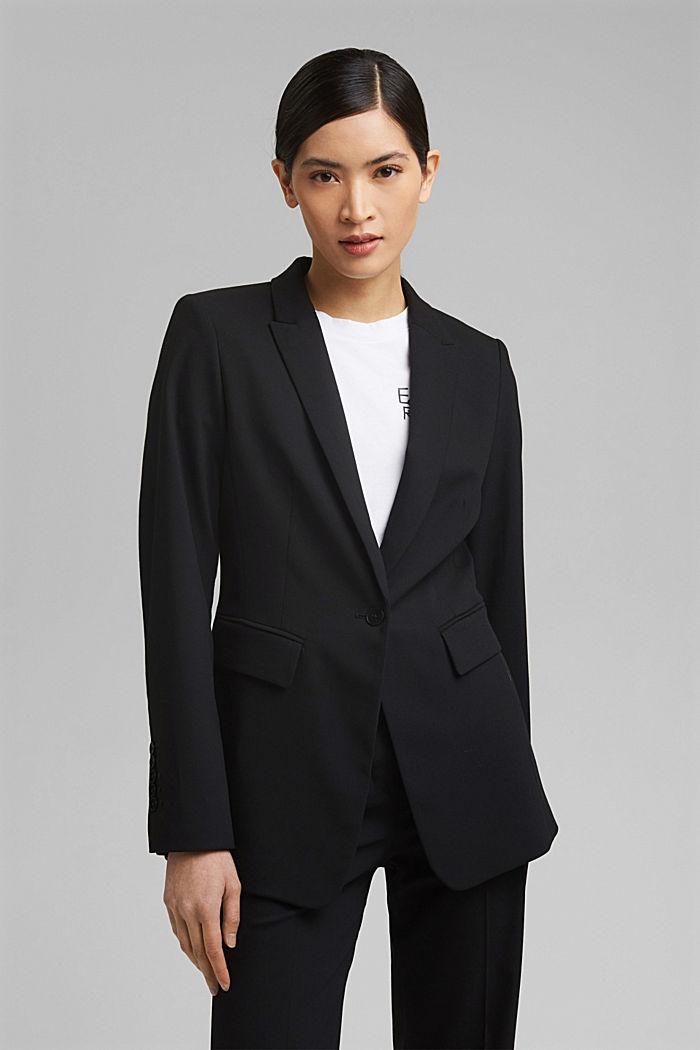 TWILL Mix + Match licht getailleerde blazer, BLACK, detail image number 5