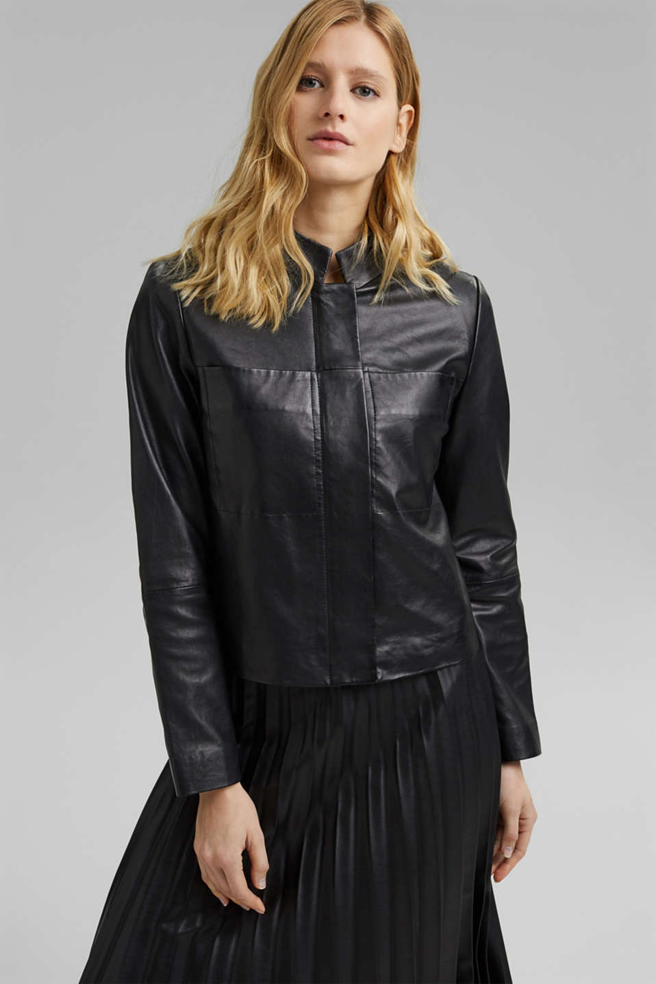 Esprit - Leather jacket made of 100% leather