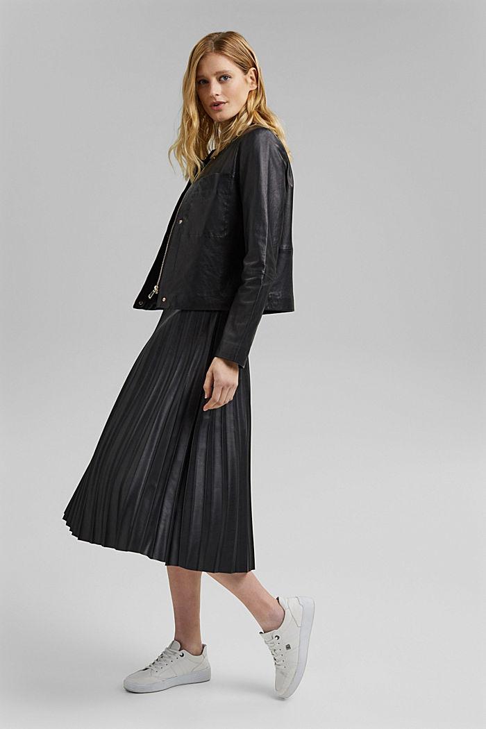 Lederjacke aus 100% Leder, BLACK, detail image number 1