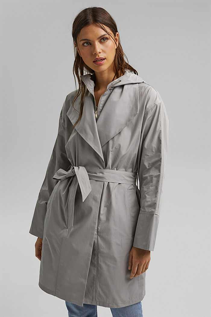 Lightweight coat with a hood, SILVER, detail image number 0