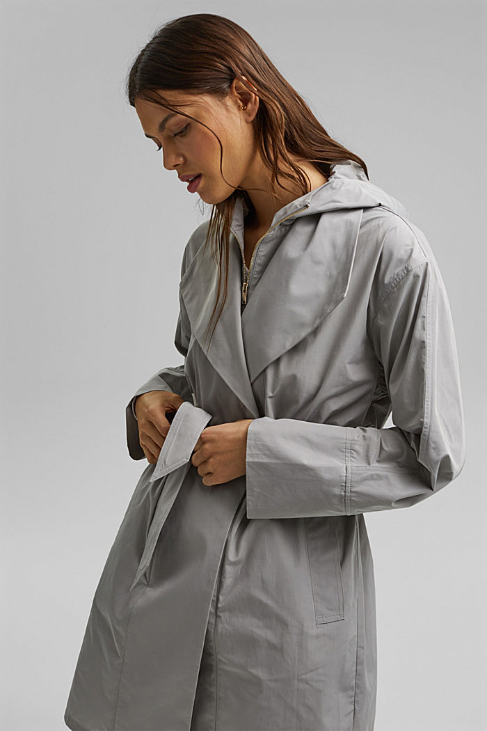 Lightweight coat with a hood, SILVER, detail image number 5