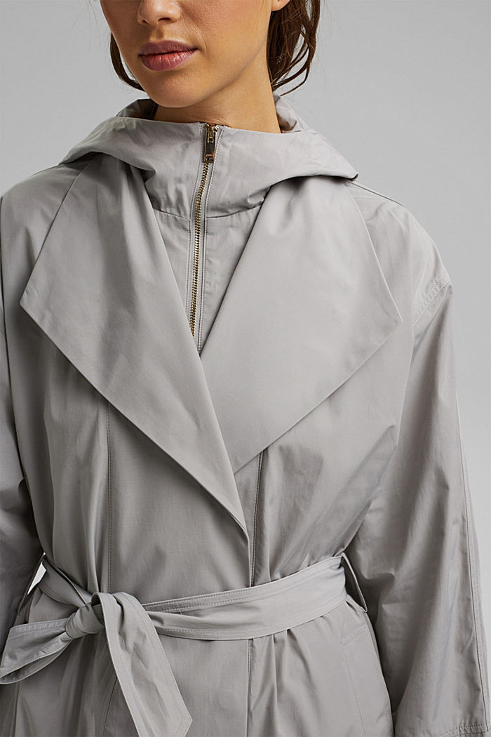 Lightweight coat with a hood, SILVER, detail image number 2