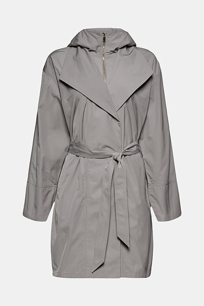 Lightweight coat with a hood, SILVER, detail image number 7