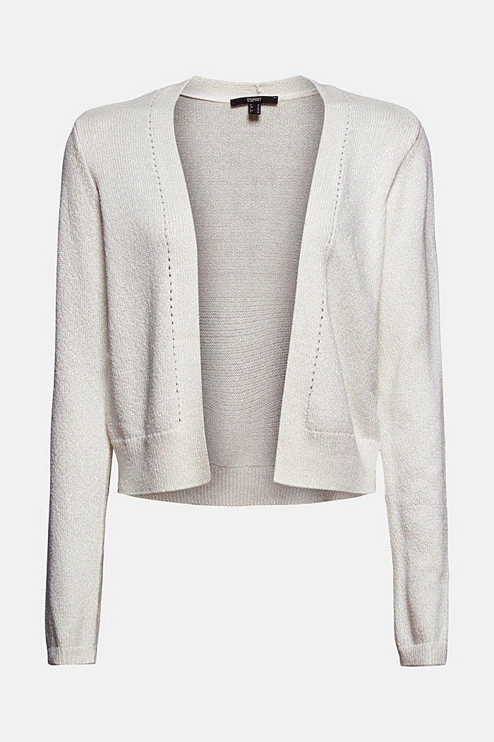 Short cardigan made of blended organic cotton, OFF WHITE, detail image number 5