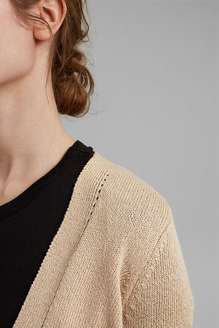 Short cardigan made of blended organic cotton, DUSTY NUDE, detail image number 2
