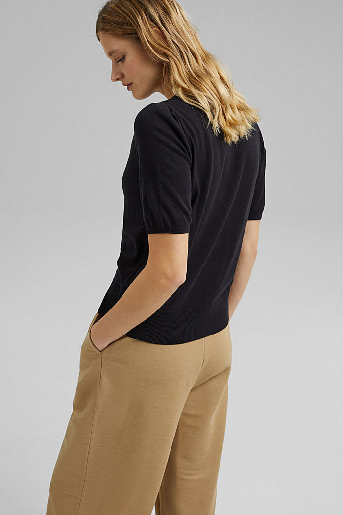 Short sleeve cardigan containing LENZING™ ECOVERO™, BLACK, detail image number 3
