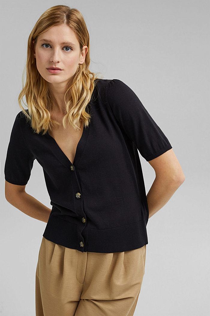 Short sleeve cardigan containing LENZING™ ECOVERO™, BLACK, detail image number 5