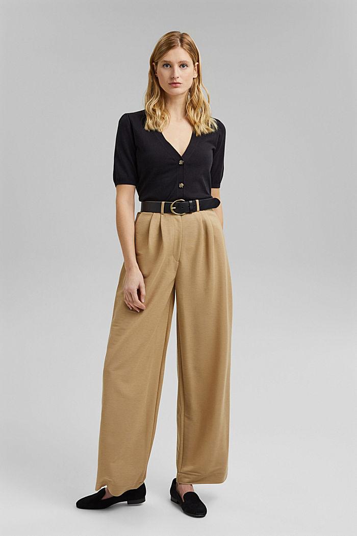Short sleeve cardigan containing LENZING™ ECOVERO™, BLACK, detail image number 1