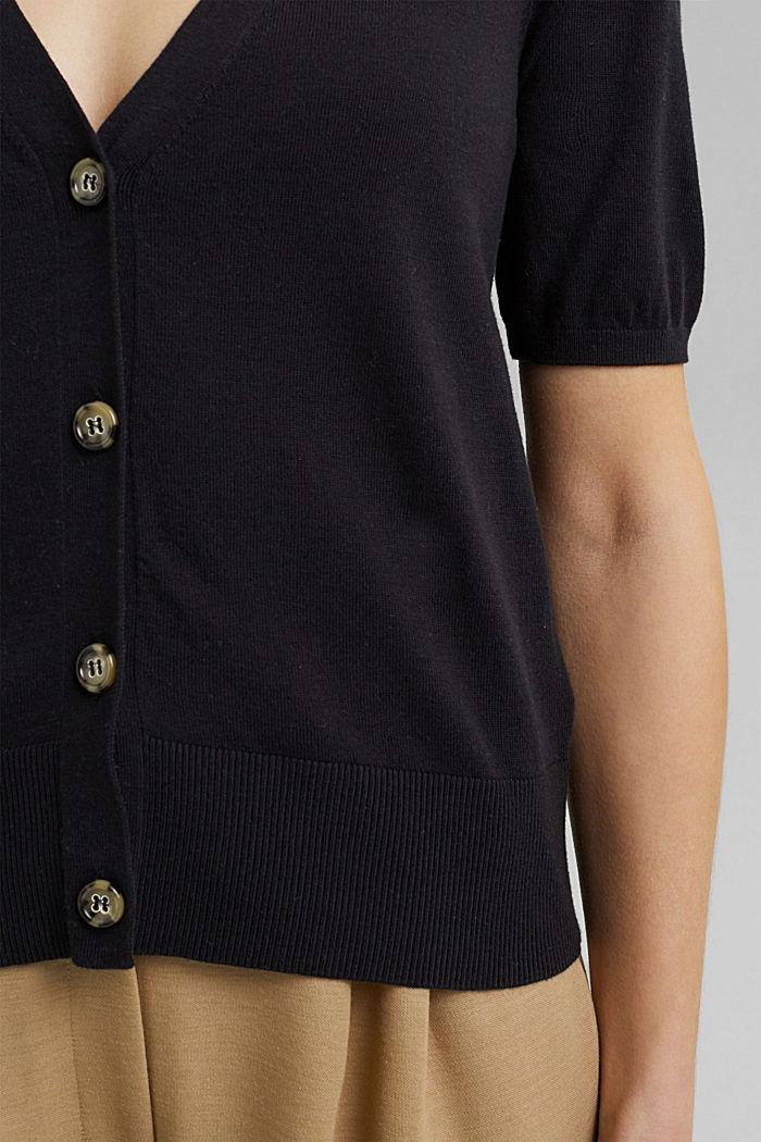 Short sleeve cardigan containing LENZING™ ECOVERO™, BLACK, detail image number 2
