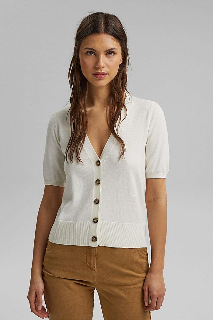 Short sleeve cardigan containing LENZING™ ECOVERO™, OFF WHITE, detail image number 0