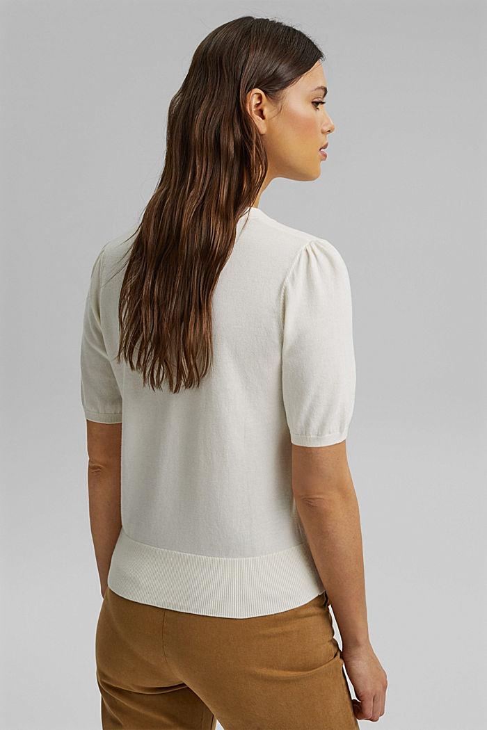 Short sleeve cardigan containing LENZING™ ECOVERO™, OFF WHITE, detail image number 3