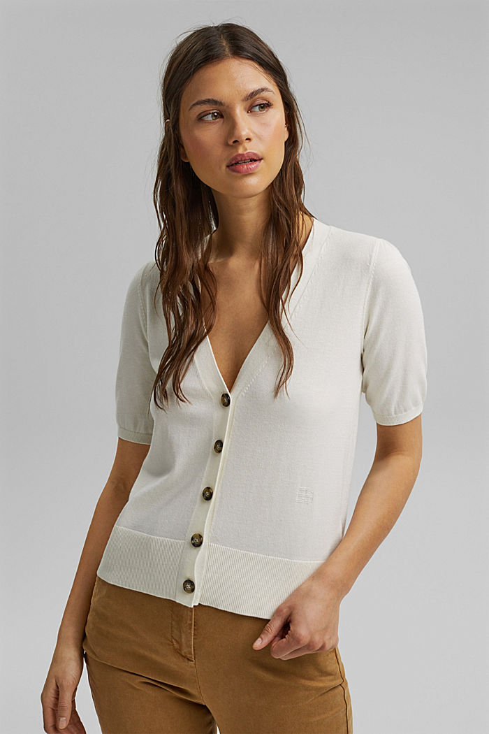 Short sleeve cardigan containing LENZING™ ECOVERO™, OFF WHITE, detail image number 5