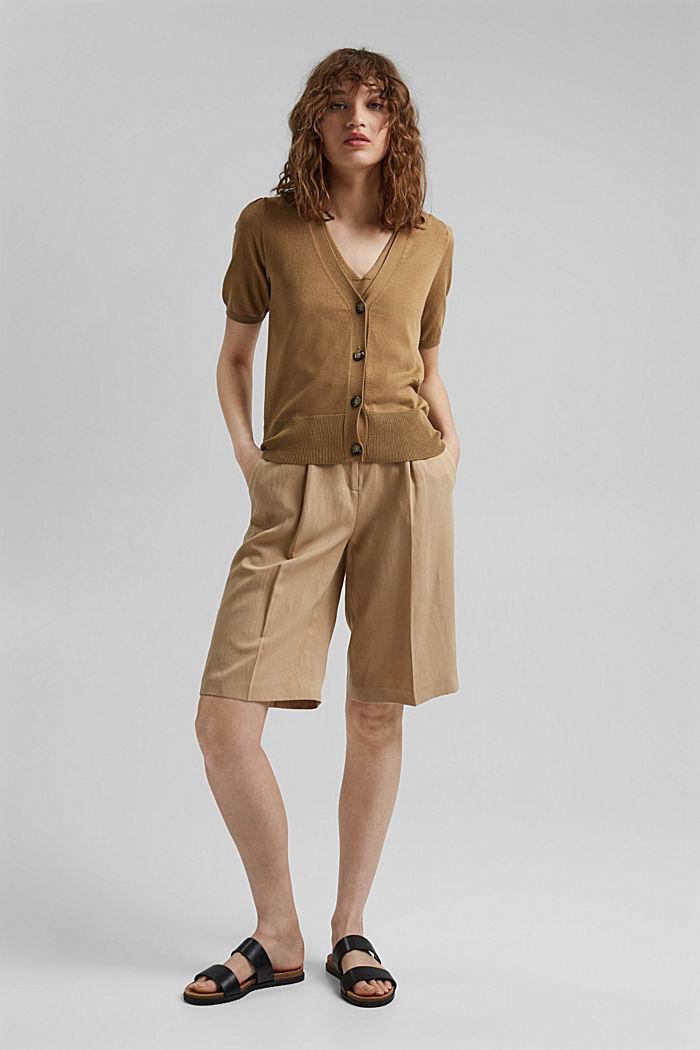 Cardigan à manches courtes, à teneur en fibre LENZING™ ECOVERO™, BARK, detail image number 1
