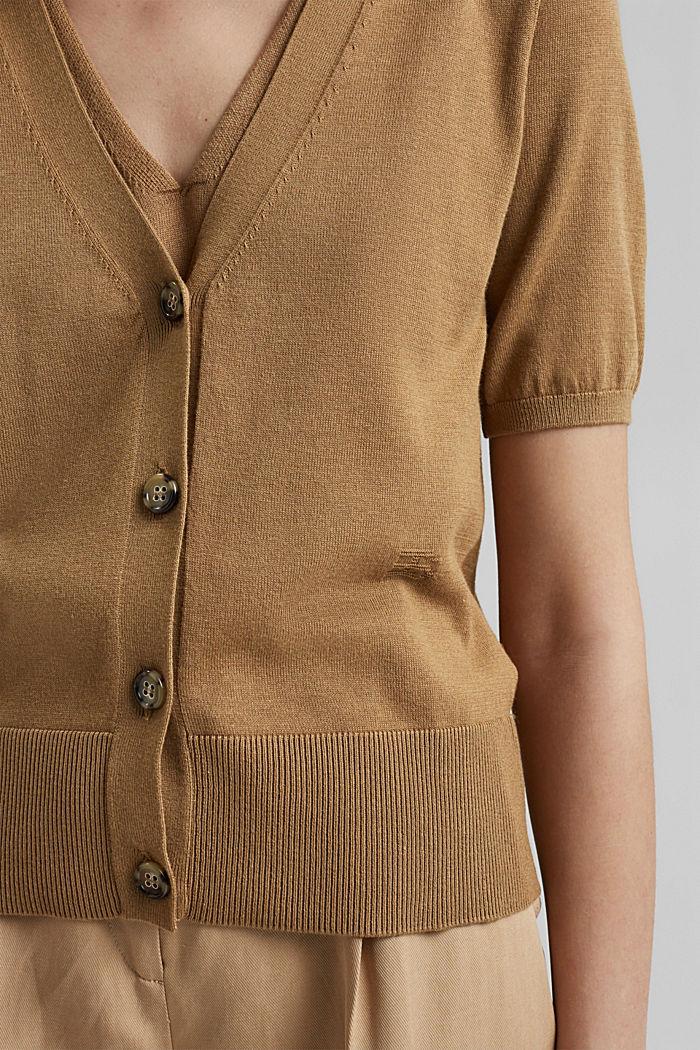 Cardigan à manches courtes, à teneur en fibre LENZING™ ECOVERO™, BARK, detail image number 2