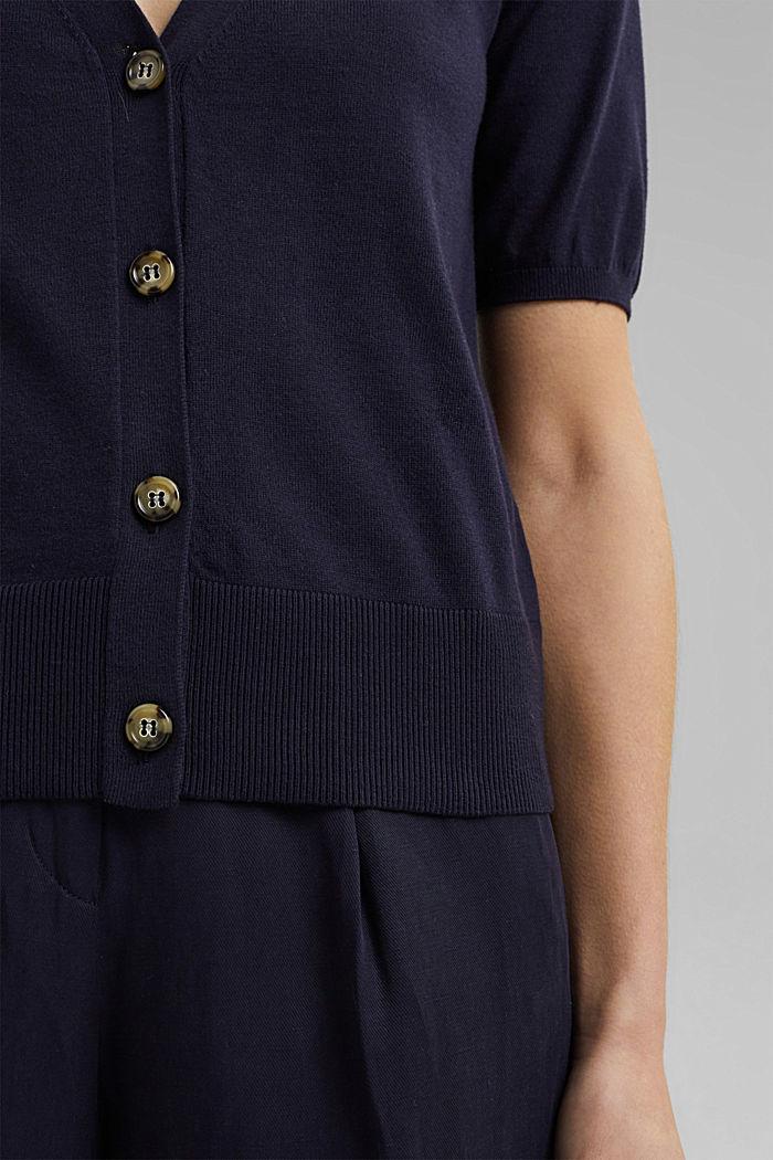 Kurzarm-Cardigan mit LENZING™ ECOVERO™, NAVY, detail image number 2