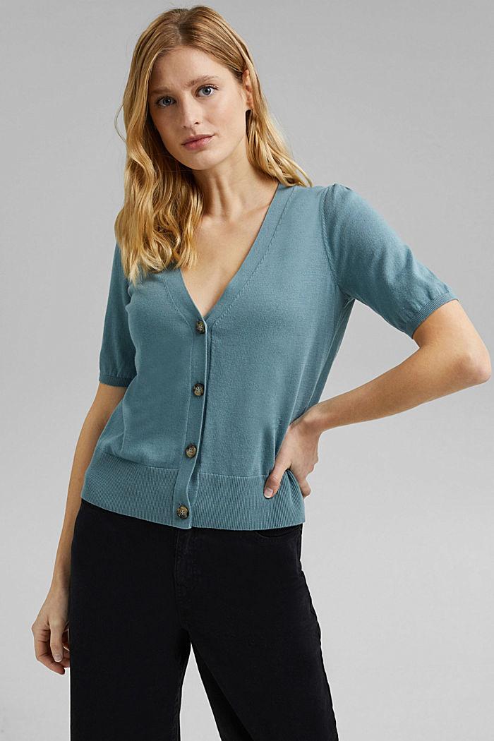 Short sleeve cardigan containing LENZING™ ECOVERO™, DARK TURQUOISE, detail image number 0