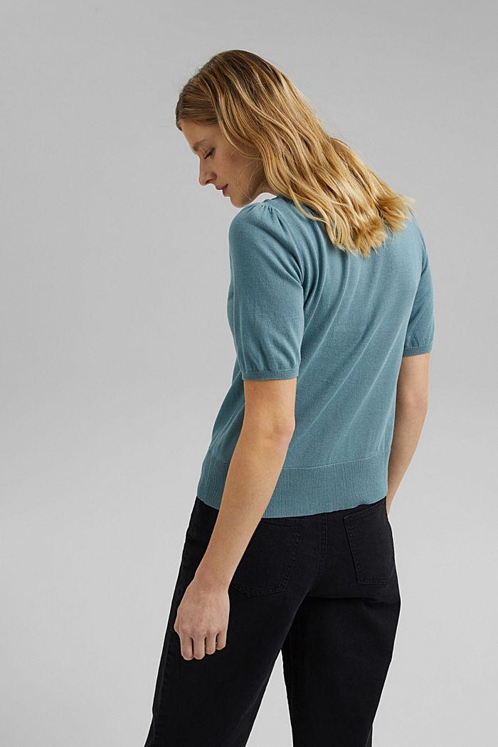 Short sleeve cardigan containing LENZING™ ECOVERO™, DARK TURQUOISE, detail image number 3