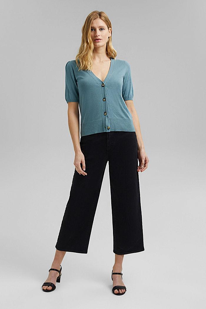 Short sleeve cardigan containing LENZING™ ECOVERO™, DARK TURQUOISE, detail image number 1