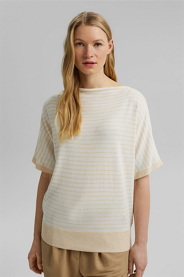 Fine short-sleeved jumper containing LENZING™ ECOVERO™, CREAM BEIGE, detail image number 0