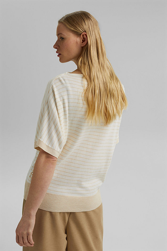 Fine short-sleeved jumper containing LENZING™ ECOVERO™, CREAM BEIGE, detail image number 3