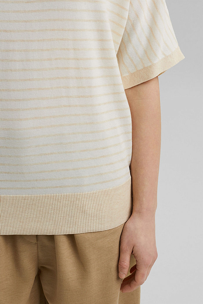 Fine short-sleeved jumper containing LENZING™ ECOVERO™, CREAM BEIGE, detail image number 2