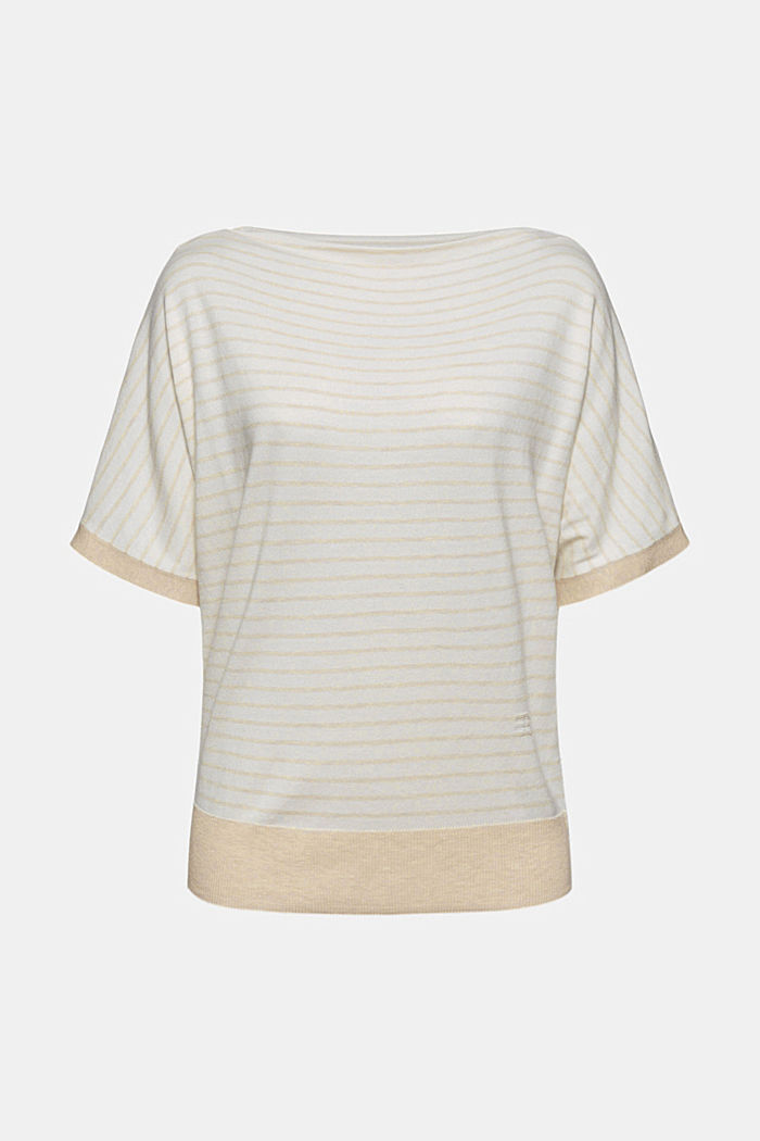 Fine short-sleeved jumper containing LENZING™ ECOVERO™, CREAM BEIGE, detail image number 5