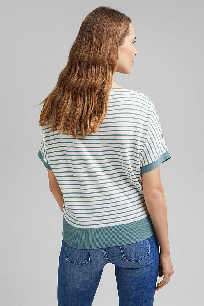 Fine short-sleeved jumper containing LENZING™ ECOVERO™, DARK TURQUOISE, detail image number 3