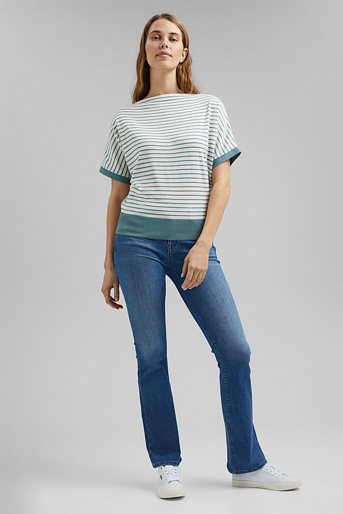 Fine short-sleeved jumper containing LENZING™ ECOVERO™, DARK TURQUOISE, detail image number 1