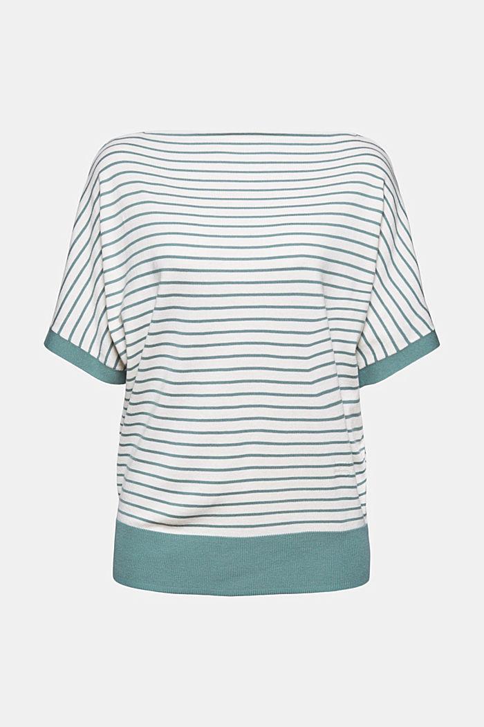 Fine short-sleeved jumper containing LENZING™ ECOVERO™, DARK TURQUOISE, detail image number 5