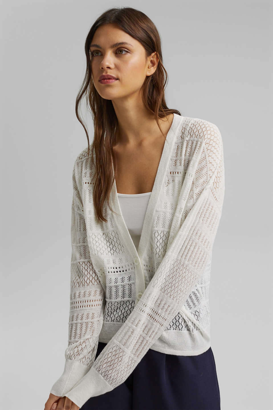 Esprit - Recycled: pointelle cardigan containing linen