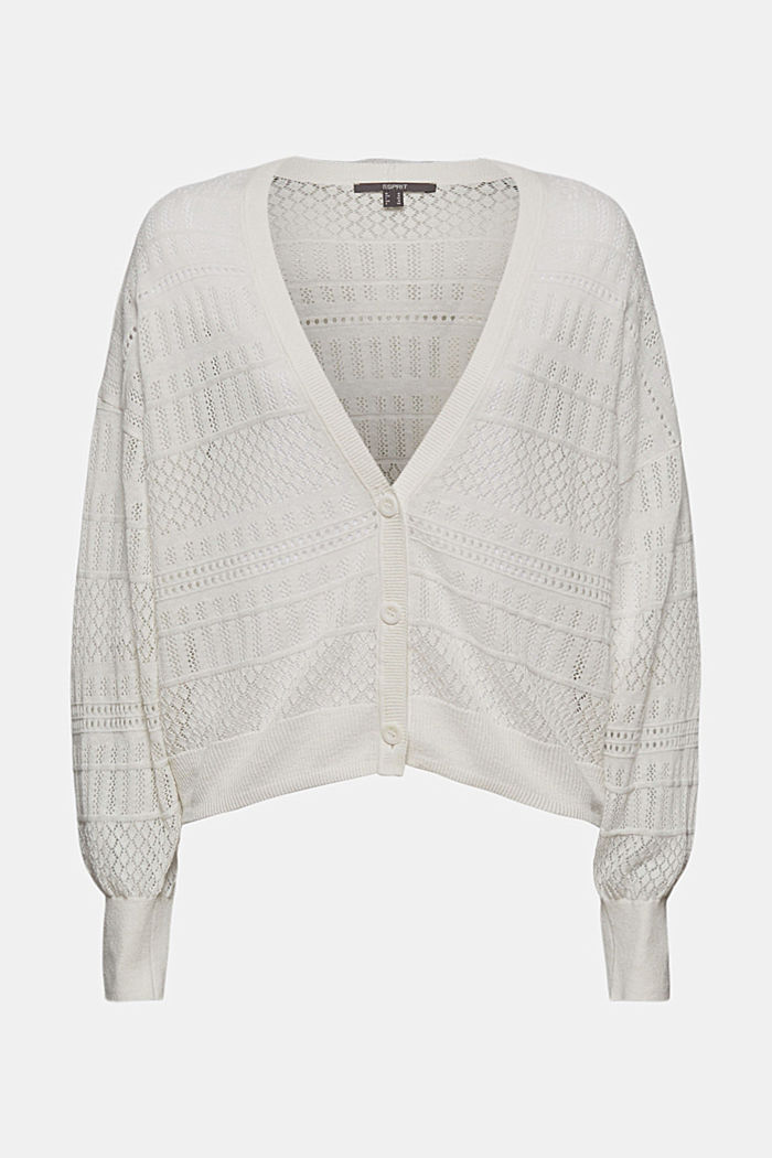 Recycled: pointelle cardigan containing linen